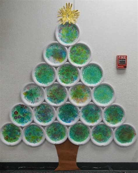 arbol de navidad con fotos arbol de navidad con platos de plastico pintados
