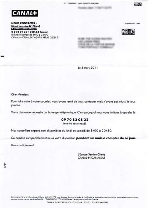 Resiliation Lettre Canal Plus modele lettre resiliation canal sat