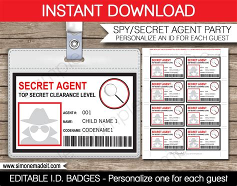 badge card template secret badge birthday printable id badge