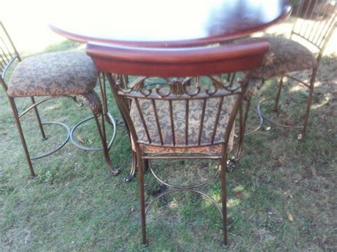 wrought iron pub table wrought iron pub table with chairs cherry wood table and
