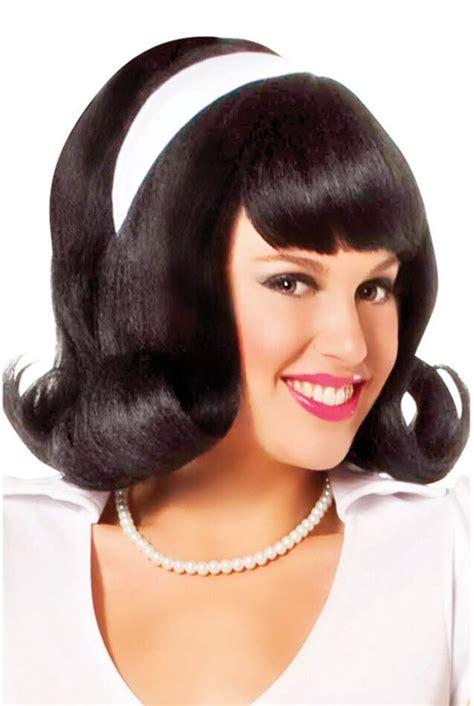 wigs for 50 plus women black 60 s flip wig candy apple costumes celebrity