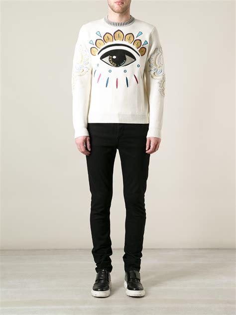 Eye White Sweater kenzo eye sweater in white for lyst
