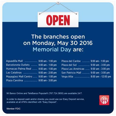 banco popular hours special hours memorial day 2016 popular