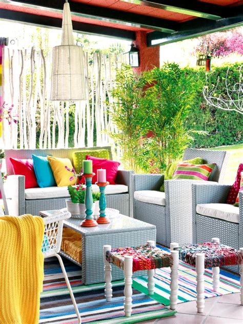 patio gardens with colorful space home design and interior