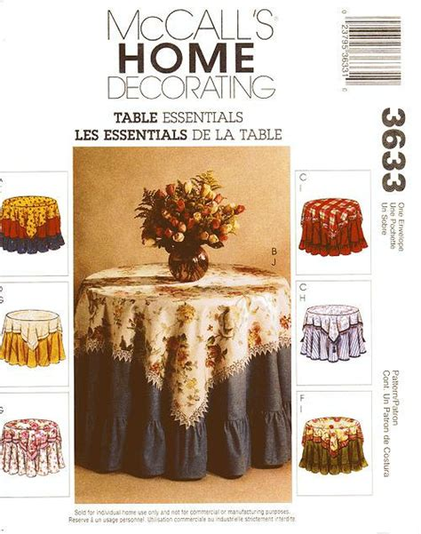 home decor essentials mccall s home decor pattern 3633 table essentials