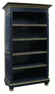 navy blue bookcase with gold gilding traditional