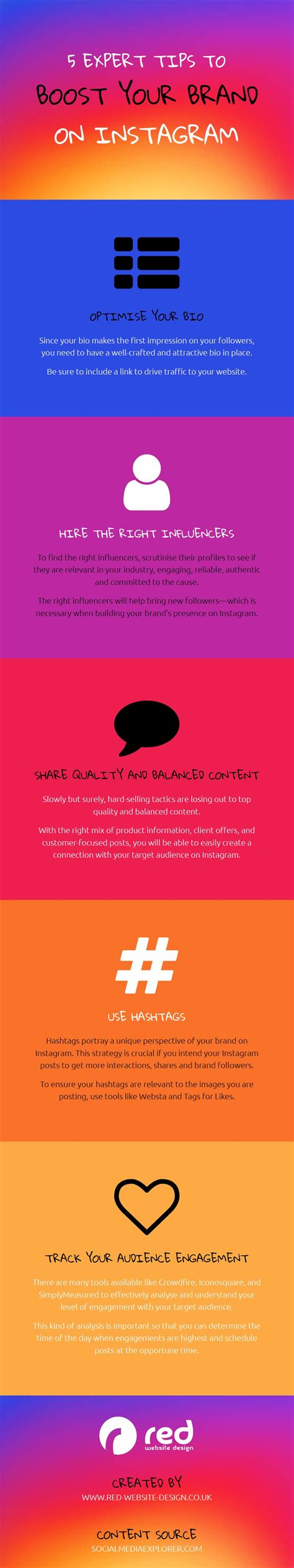 graphic design instagram bio 5 to boost your brand on instagram infographic