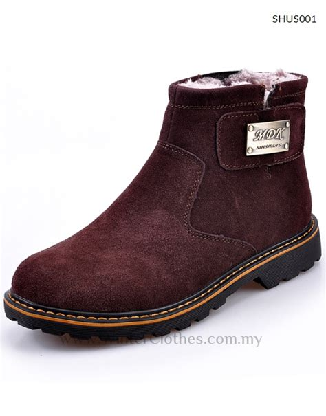 winter suede boots shoes with fleece lining for
