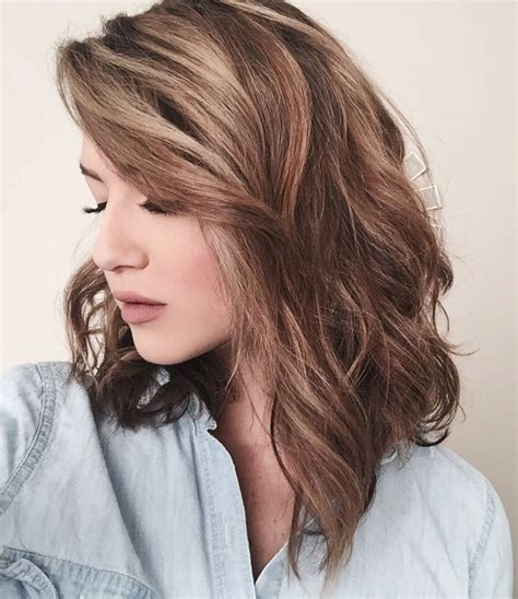 naturally curly asymmetrical lob haircuts color