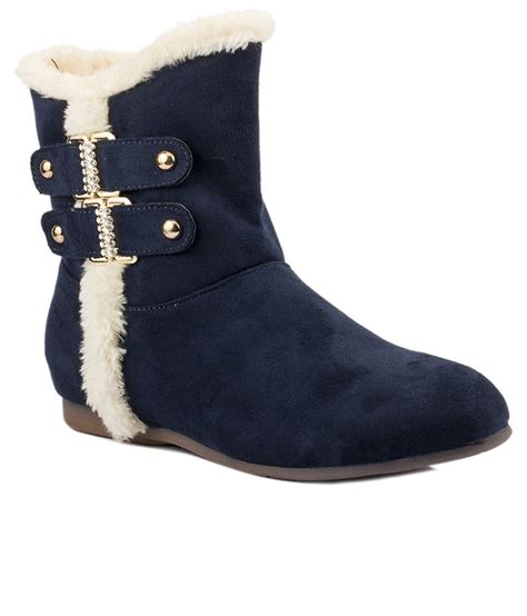 wellworth navy blue flat slouch boots price in india buy