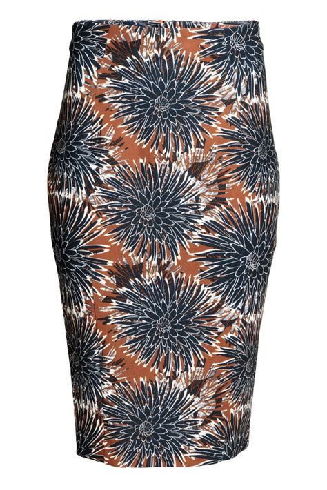 brown patterned pencil skirt pencil skirt brown patterned sale h m us