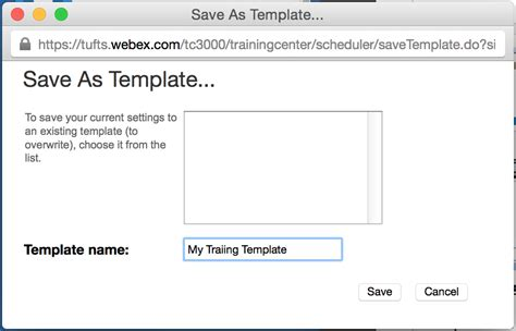 Webex Scheduling Templates About Templates Tufts Technology Services