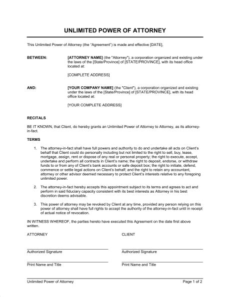 power of attorney template canada unlimited power of attorney template sle form
