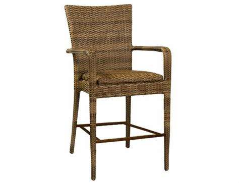 outdoor wicker bar stools with arms whitecraft by woodard wicker padded bar stool with arms