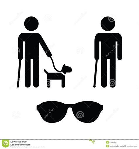 Is 2d Blind Blind Man Icons Set With Guide Dog Cane Royalty Free