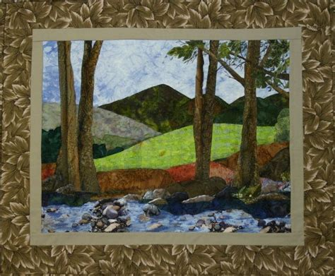 Mountain Landscape Quilt Fabric Applique Landscape Quilt Wallhanging Bull Mountain