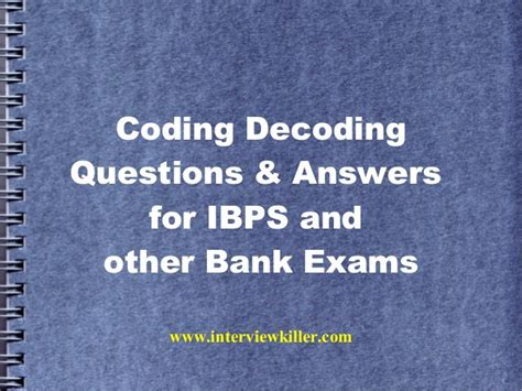 coding decoding questions for bank exams interviewkiller