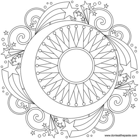 Sun Moon Mandala Coloring Page Crafty And Diy Pinterest Sun Moon Mandala Coloring