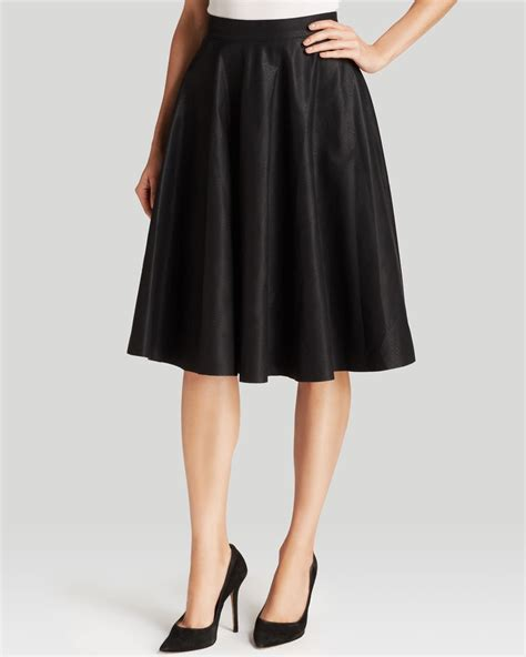 connection skirt faux leather flared in black lyst