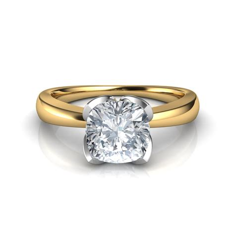Engagement Ring by Petal Design Cushion Cut Solitaire Engagement Ring