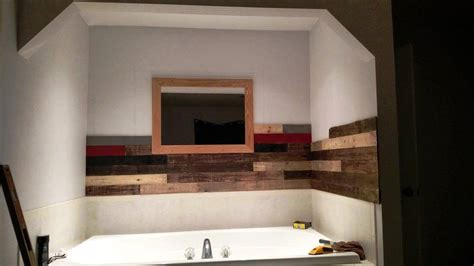 pallet wood bathroom pallet wall paneling project around the jacuzzi bath tub