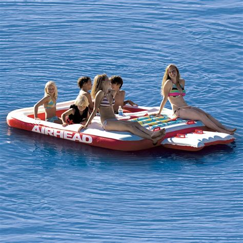 floating boat island cool island inflatable six person float airhead