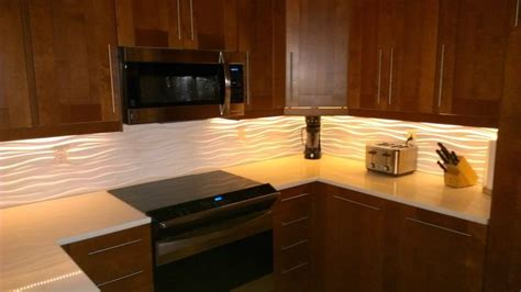 """Our kitchen with a Modular Tiles """"Dune"""" backsplash and LED"""