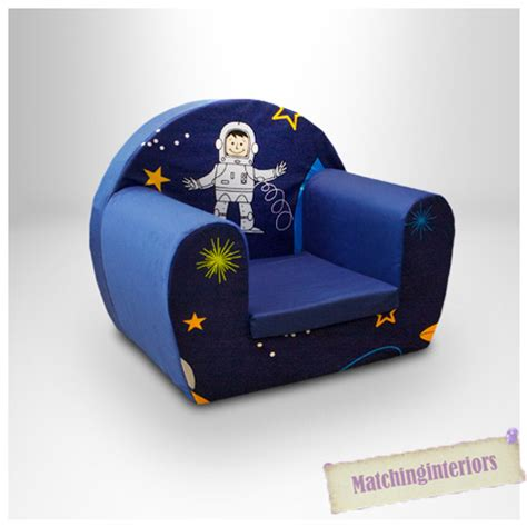 childs foam armchair space boy blue childrens kids comfy foam chair toddlers
