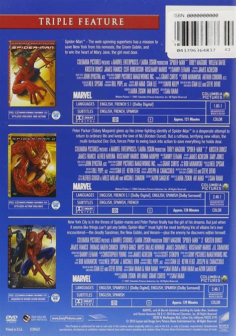 spider man trilogy dvd triple feature spider man