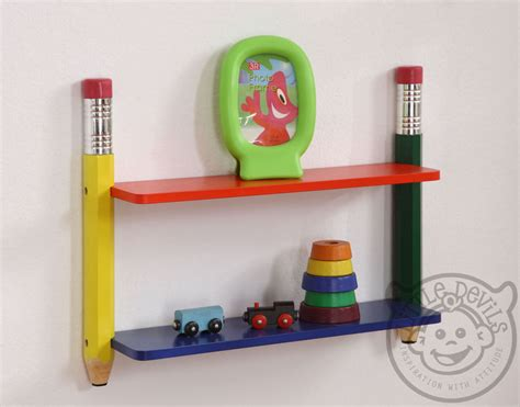 pencil themed wall shelving unit bookcase childrens