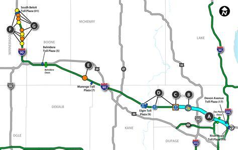 illinois tollway map illinois tollway map illinois map