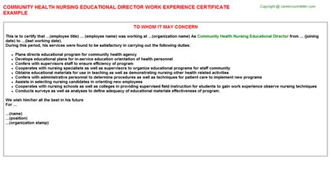 Work Experience Letter For Nursing Home Health Aide Trainee Work Experience Certificates