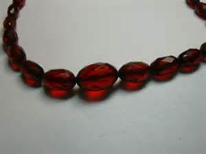 Antique cherry amber faceted beads fine vintage costume jewelry choker
