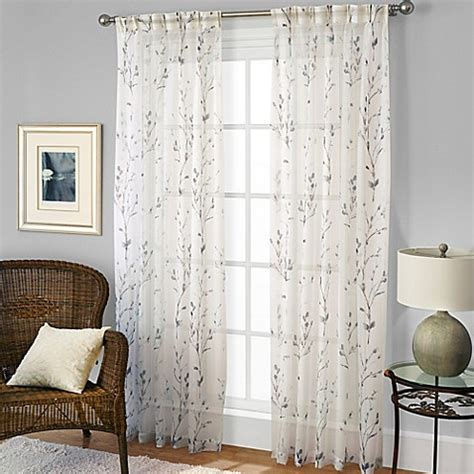 bed bath and beyond curtain panels willow print pinch pleat sheer window curtain panel bed
