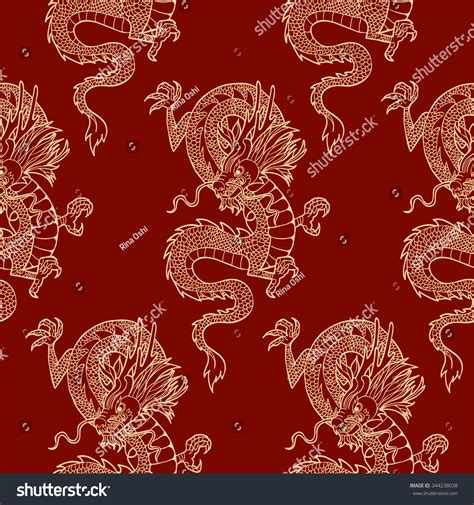 chinese gold pattern vector gold chinese dragon on a red background vector seamless