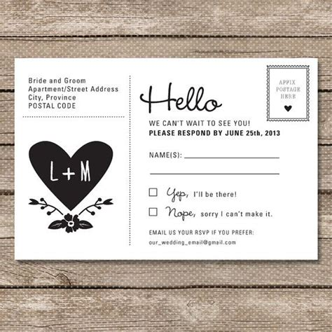 wedding rsvp postcard printable pdf garden whimsy