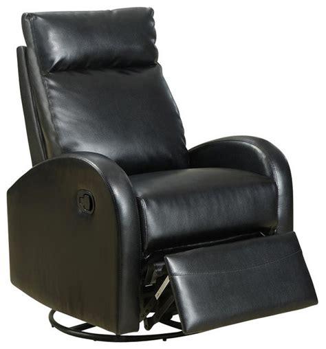 contemporary swivel rocker recliner monarch specialties black bonded leather swivel rocker