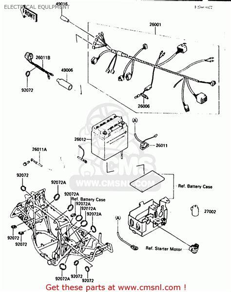 motor wiring kawasaki klf300 a2 bayou300 1987 united