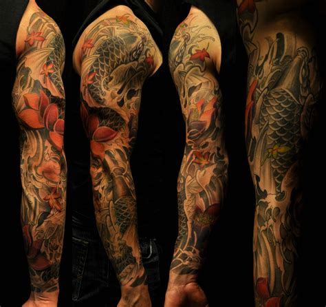 tattoo black and grey with colour blue koi fish tattoo sleeve