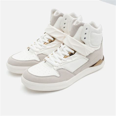 high top gold sneakers zara high top sneakers with gold toned details in