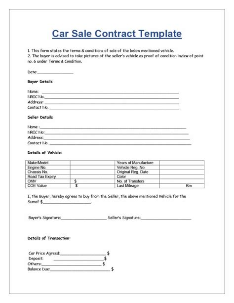 car sale contract 42 printable vehicle purchase agreement templates