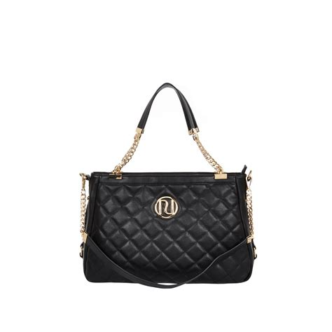river island black quilted chain handle tote bag in black