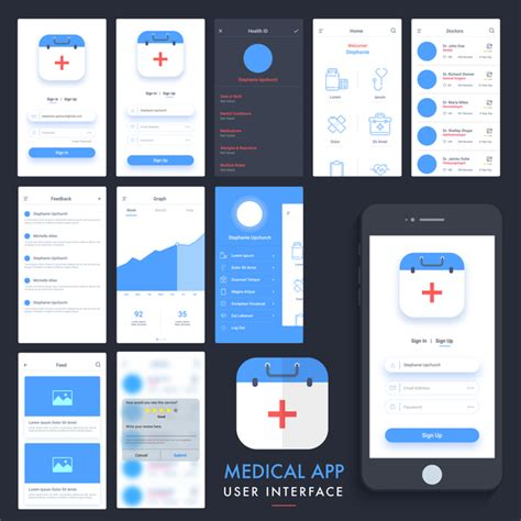 Medical App User Interface Template Vector Free Download Application Ui Templates