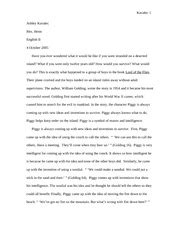 Lord Of The Flies Piggy Essay by Lord Of The Flies Course