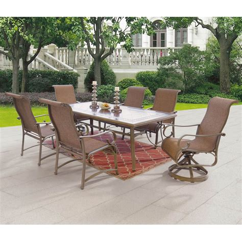 7 Pc Patio Dining Set Patio Logic Bennington 7 Pc Dining Set Dining Tables Chairs More Shop The Exchange