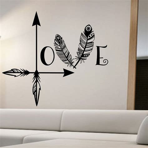 hot sale diy vinyl wall stickers decal art mural for kids aliexpress com buy hot sale feather arrow wall stickers