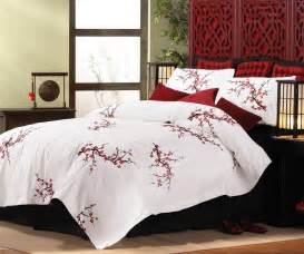 Asian Bed Sets New Asian Cherry Blossom Style King Size Comforter Pillow Shams Bedding Set Ebay
