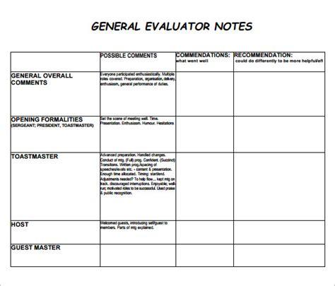 general evaluation template 7 sle general evaluation templates sle templates