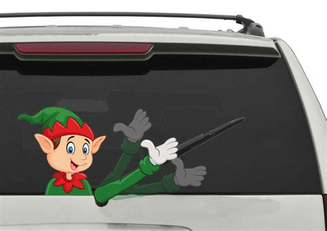 christmas elf moving hand car decal rear window wiper