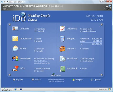 Wedding Software by Elm Software Ido Wedding Edition Wedding